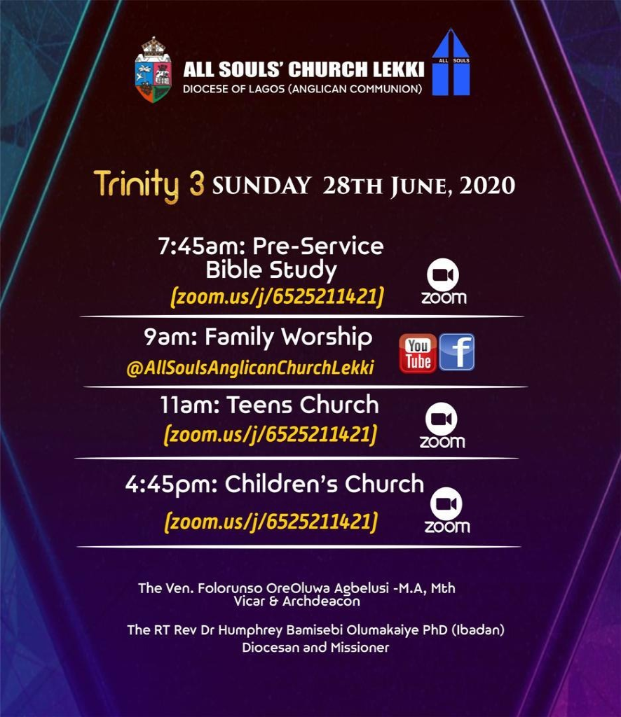 All Souls Church Lekki - Trinity 3 28th June 2020